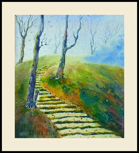 Nature Watercolor Art Painting title 'Imagine hill' by artist Biki Das