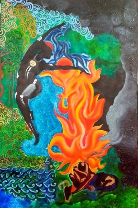 Nishant Mishra | Oil Painting title Durga on Canvas