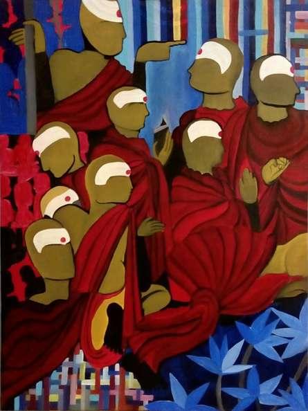 The Society | Painting by artist Nishant Mishra | acrylic | Canvas