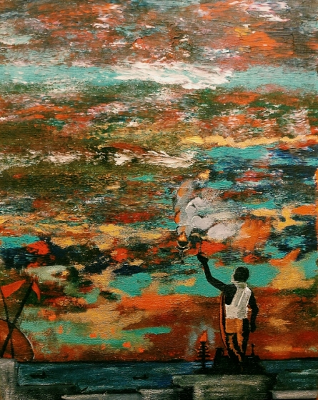 contemporary Acrylic Art Painting title 'Devin Conversation' by artist Nishant Mishra