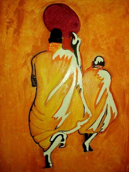 Expressionist Oil Art Painting title 'Walk Of Difference' by artist Nishant Mishra