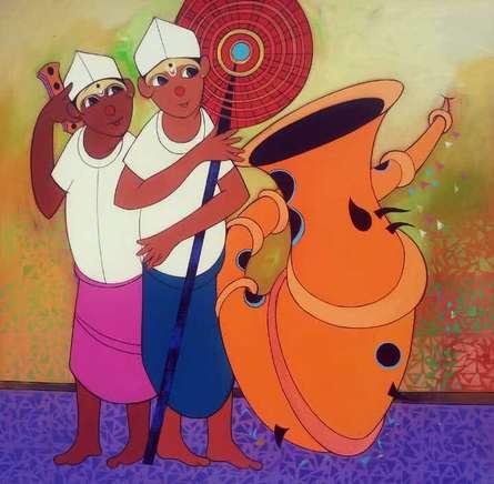 Folk Men | Painting by artist Dnyaneshwar Bembade | acrylic | Canvas