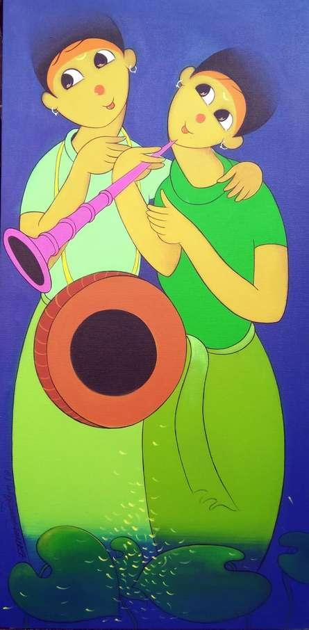 Figurative Acrylic Art Painting title 'Music' by artist Dnyaneshwar Bembade