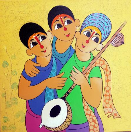 Figurative Acrylic Art Painting title 'Musical envoirment' by artist Dnyaneshwar Bembade