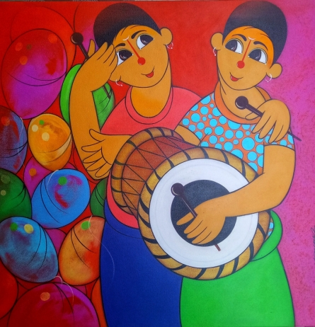 Figurative Acrylic Art Painting title 'MUSIC DAY' by artist Dnyaneshwar Bembade