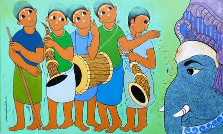 Figurative Acrylic Art Painting title 'GANESHA WORSHIP' by artist Dnyaneshwar Bembade