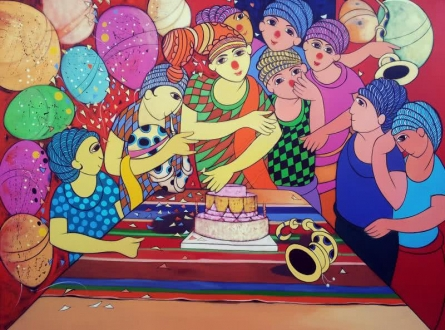 Anime Acrylic Art Painting title 'Birthday Celebration' by artist Dnyaneshwar Bembade