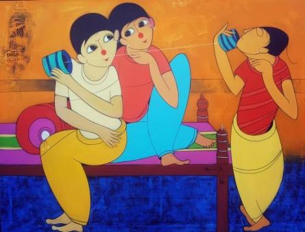 Childhood Fun | Painting by artist Dnyaneshwar Bembade | acrylic | Canvas