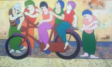 Anime Acrylic Art Painting title 'Cycling' by artist Dnyaneshwar Bembade