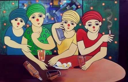 Drinker   Painting by artist Dnyaneshwar Bembade   acrylic   Canvas