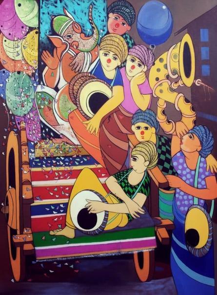Ganesh Festival | Painting by artist Dnyaneshwar Bembade | acrylic | Canvas