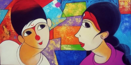 Gossip | Painting by artist Dnyaneshwar Bembade | acrylic | Canvas