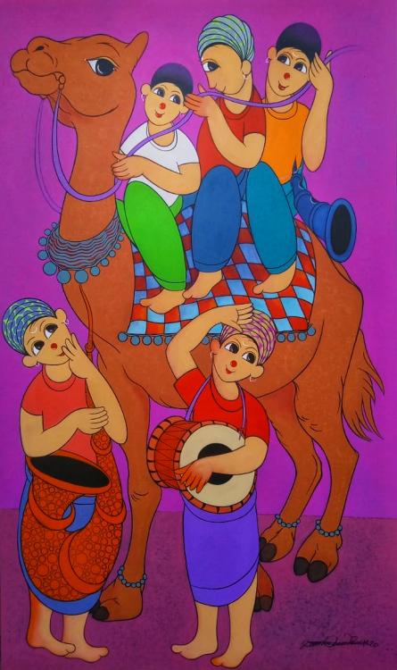 Figurative Acrylic Art Painting title 'CAMEL SFARI' by artist Dnyaneshwar Bembade