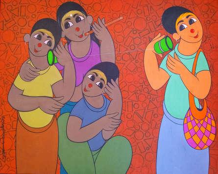 Figurative Acrylic Art Painting title 'CHILDHOOD FUN' by artist Dnyaneshwar Bembade