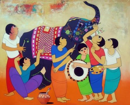 King Of Elephant | Painting by artist Dnyaneshwar Bembade | acrylic | Canvas