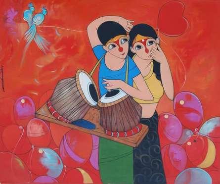 Love | Painting by artist Dnyaneshwar Bembade | acrylic | Canvas