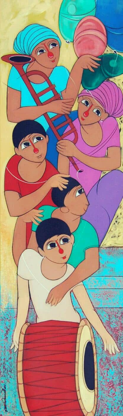 Music | Painting by artist Dnyaneshwar Bembade | acrylic | Canvas