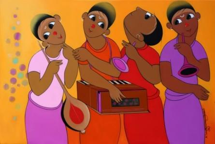 Figurative Acrylic Art Painting title 'Music 1' by artist Dnyaneshwar Bembade