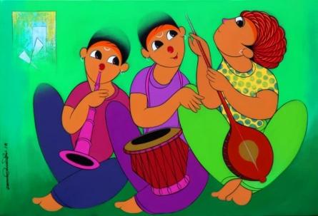 Dnyaneshwar Bembade | Acrylic Painting title Music 2 on Canvas | Artist Dnyaneshwar Bembade Gallery | ArtZolo.com
