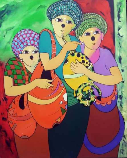 Anime Acrylic Art Painting title 'Music I' by artist Dnyaneshwar Bembade