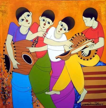 Musical Man | Painting by artist Dnyaneshwar Bembade | acrylic | Canvas