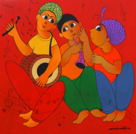 Figurative Acrylic Art Painting title 'Tune Maker 1' by artist Dnyaneshwar Bembade