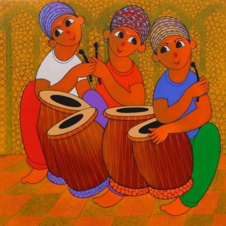 Figurative Acrylic Art Painting title Tune Maker 2 by artist Dnyaneshwar Bembade