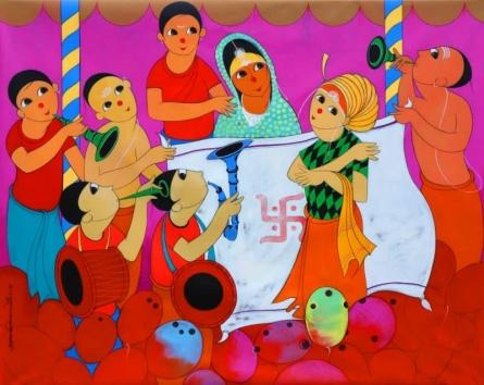 Figurative Acrylic Art Painting title 'Wedding' by artist Dnyaneshwar Bembade