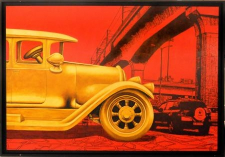 GOLDEN CAR | Painting by artist Rohit Sharma | acrylic | Canvas