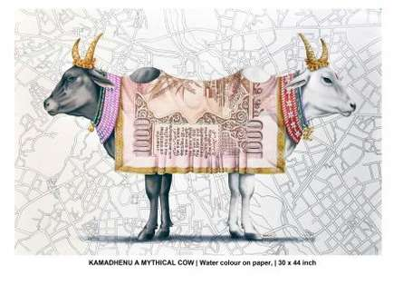 KAMADHENU - A - MYTHICAL - COW | Painting by artist Rohit Sharma | watercolor | Paper
