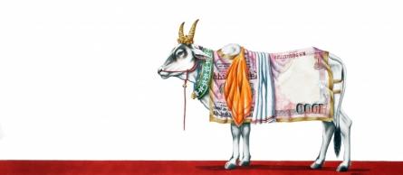 Animals Watercolor Art Painting title Kamadhenu 1 by artist Rohit Sharma