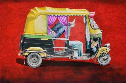 Transportation Watercolor Art Painting title Sleepless 4 by artist Rohit Sharma
