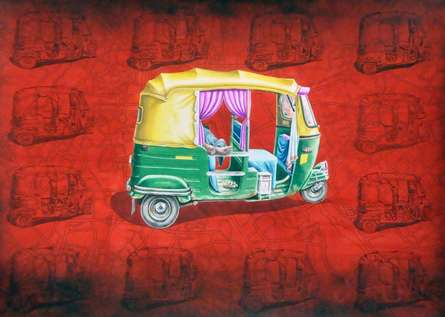 Transportation Watercolor Art Painting title 'Sleepless 5' by artist Rohit Sharma