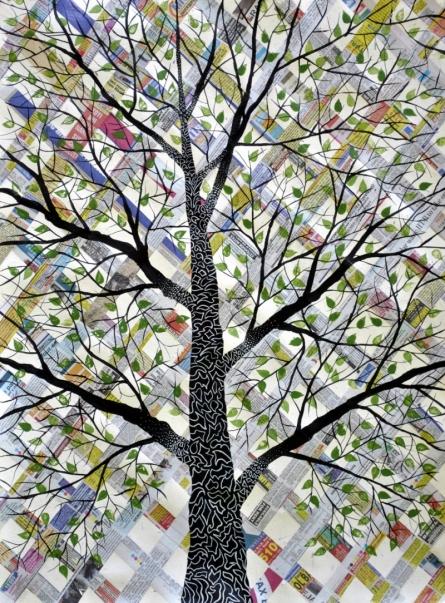 Likhit Vriksh   Mixed_media by artist Sumit Mehndiratta   Handmade Paper