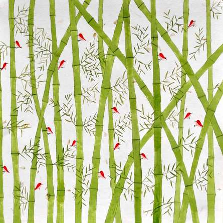 Bamboo forest | Painting by artist Sumit Mehndiratta | acrylic | Paper