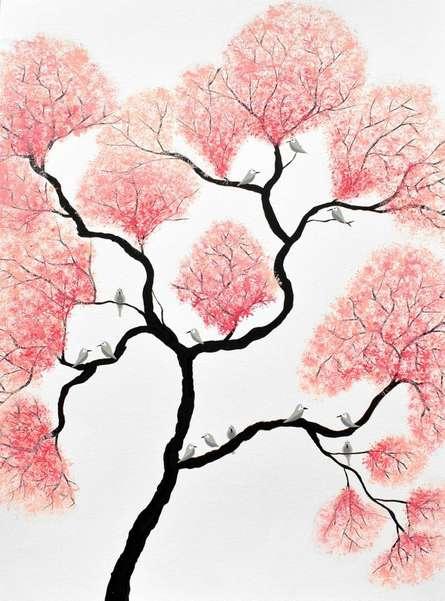 Nature Acrylic Art Painting title 'Birds And Flowers' by artist Sumit Mehndiratta