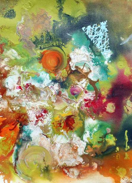 Abstract Acrylic Art Painting title 'Pop Fluid No 5' by artist Sumit Mehndiratta