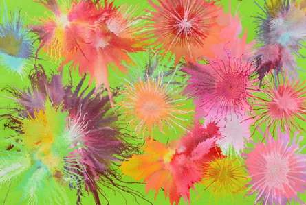 Abstract Acrylic Art Painting title Exploflora Series No 9 by artist Sumit Mehndiratta