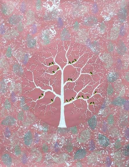 Nature Acrylic Art Painting title 'Gulvan Vriksh' by artist Sumit Mehndiratta