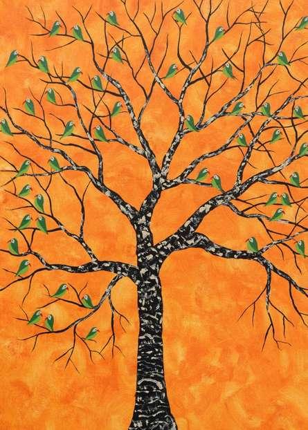 Nature Acrylic Art Painting title Kurva Vriksh by artist Sumit Mehndiratta