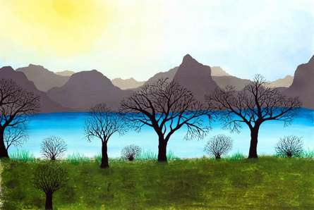 Landscape Acrylic Art Painting title Besides the calm waters by artist Sumit Mehndiratta