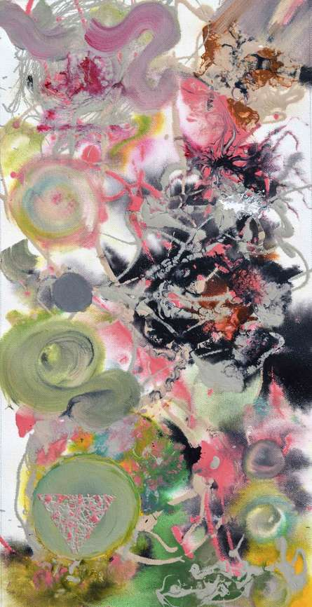 Abstract Acrylic Art Painting title Pop Fluid No 7 by artist Sumit Mehndiratta