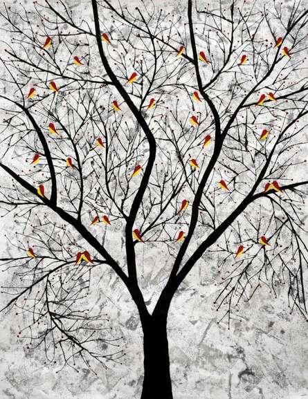 Nature Acrylic Art Painting title 'Sarvaras' by artist Sumit Mehndiratta