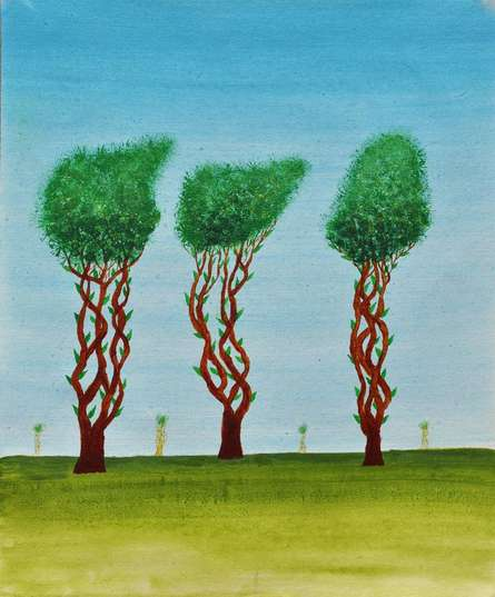 Nature Acrylic Art Painting title Trees Of Jasoon by artist Sumit Mehndiratta