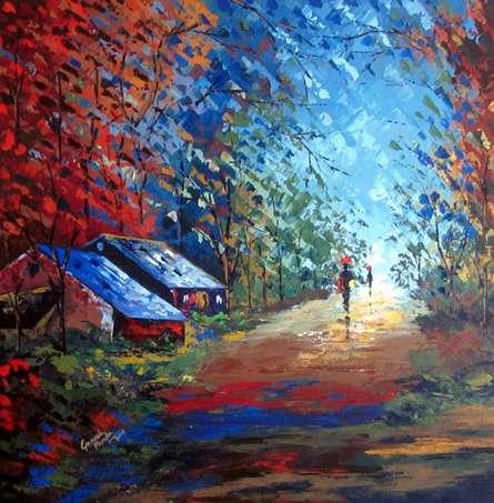 My Village | Painting by artist Ganesh Panda | acrylic | Canvas