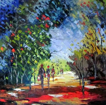 Rainy Day | Painting by artist Ganesh Panda | oil | Canvas