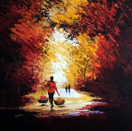 Flower Seller | Painting by artist Ganesh Panda | acrylic | Canvas