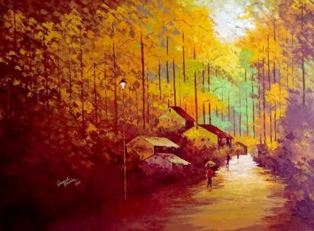 Landscape Acrylic Art Painting title 'My Village 2' by artist Ganesh Panda