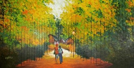 Nature Acrylic Art Painting title 'Nature 1' by artist Ganesh Panda