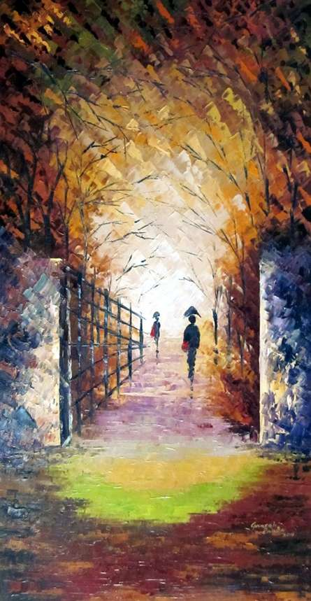 Ganesh Panda | Oil Painting title Rain On The Bridge on Canvas | Artist Ganesh Panda Gallery | ArtZolo.com